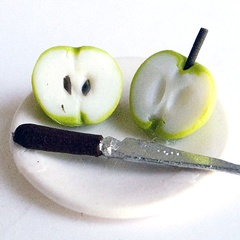 Image of Apple Halves, (not on a plate, no knife)