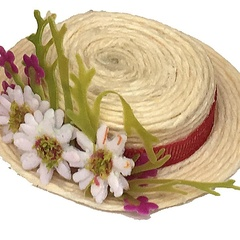 Hat with flowers.