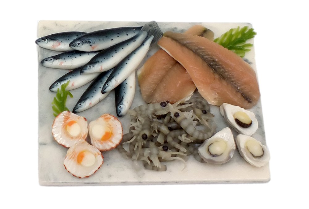 TX Miniatures Market Place html Boards and Slabs, Fish, Scallop and Seafood Display