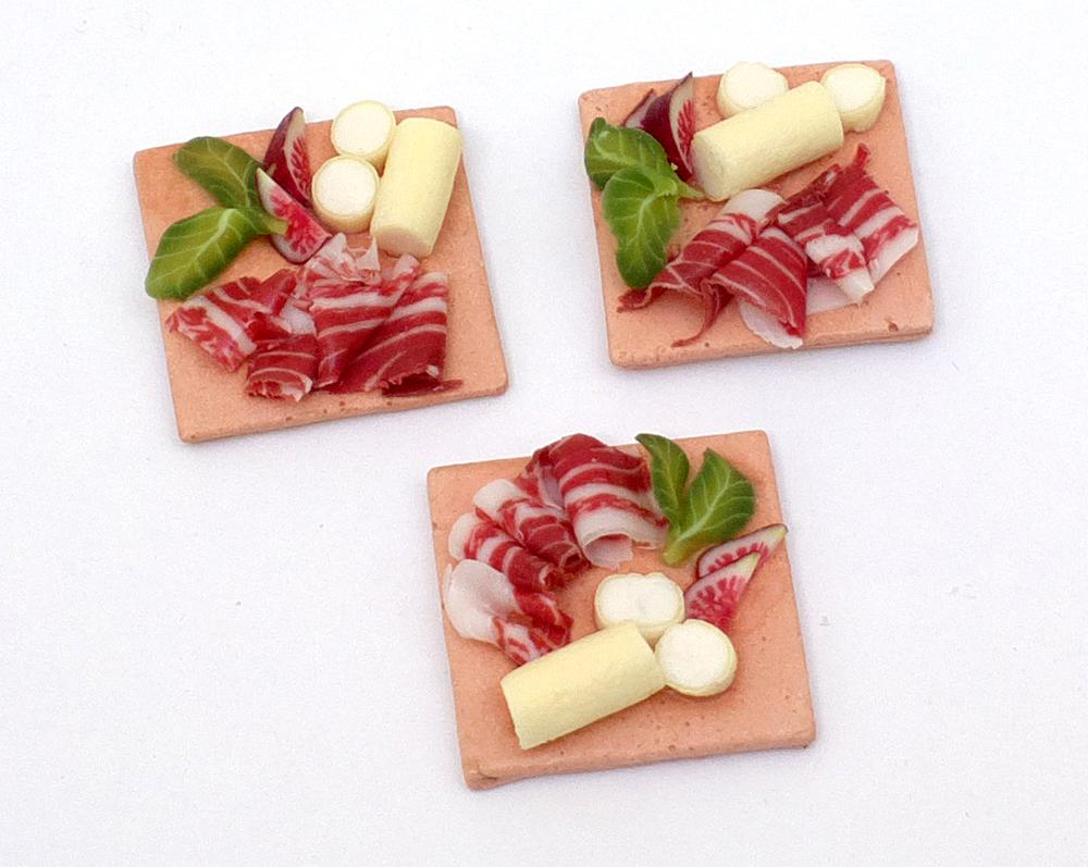 TX Miniatures Market Place html Plated Meals, Jamon, Cheese and Fig Tile